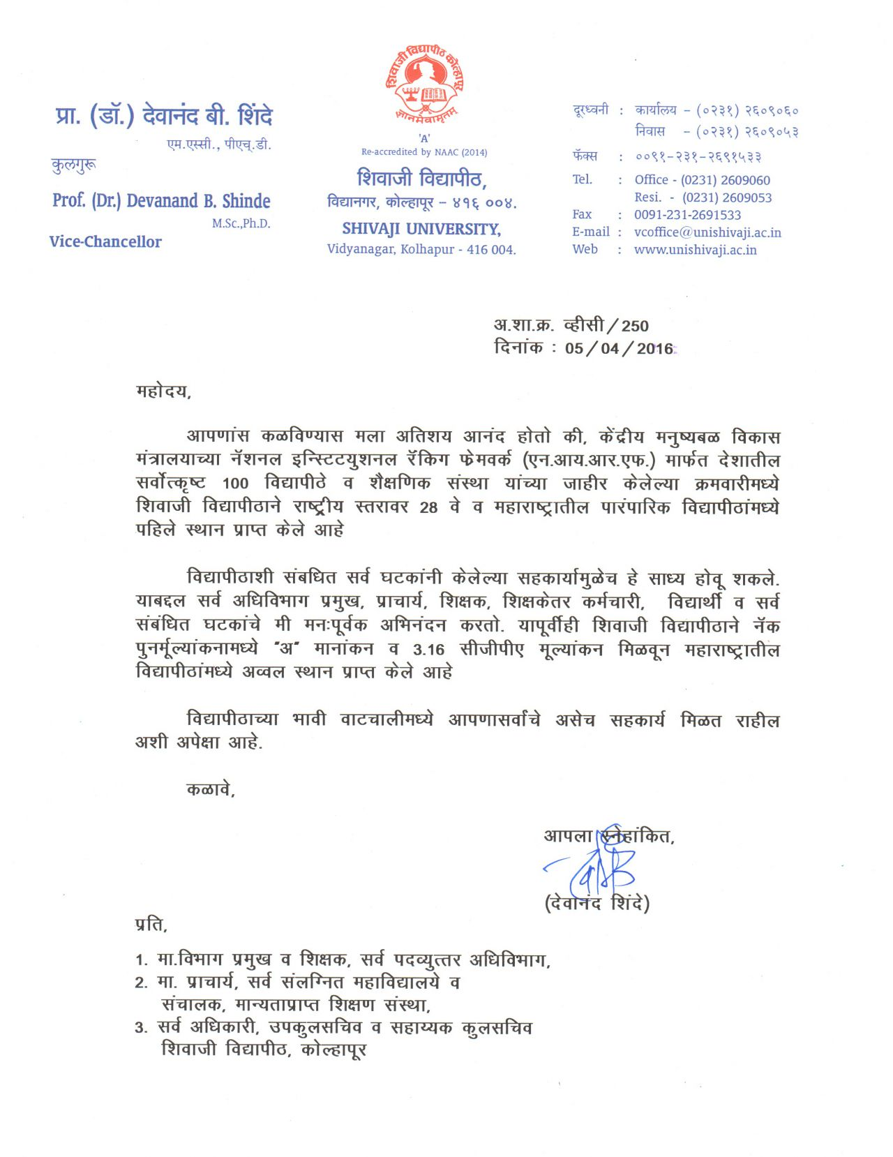 circular regarding nirf institutional ranking of shivaji university